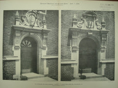 Hopkinson and Craig Doorways at the University of Pennsylvania Dormitory , Philadelphia, PA, 1899, Cope & Stewardson