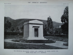 Hitchcock Mausoleum, Cypress Lawn Cemetery, San Mateo County, CA, 1912, Messrs. Willis Polk & Co