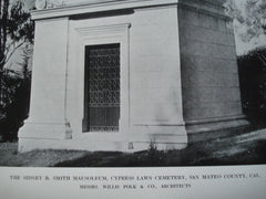 Sidney B. Smith Mausoleum, Cypress Lawn Cemetery, San Mateo County, CA, 1912, Messrs. Willis Polk & Co