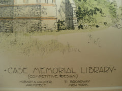 Designs for the Case Memorial Library, Auburn, NY, 1896, Edward A. Kent and Hobart A. Walker