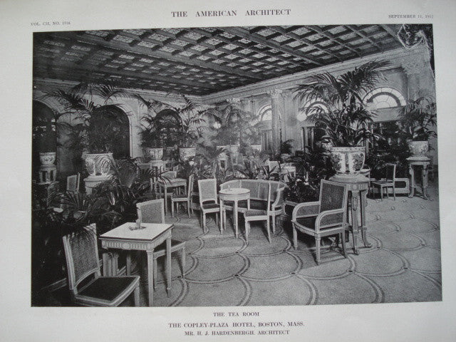 Tea Room in the Copley-Plaza Hotel , Boston, MA, 1912, Mr. H.J. Hardenbergh