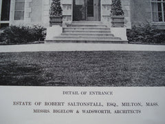 Detail of the Entrance Front of the Estate of Robert Saltonstall, Esq., Milton, MA, 1912, Messrs. Bigelow & Wadsworth