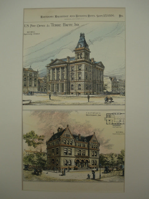 Two U. S Post Offices , Terre Haute & New Albany, IN, 1886, M. E. Bell