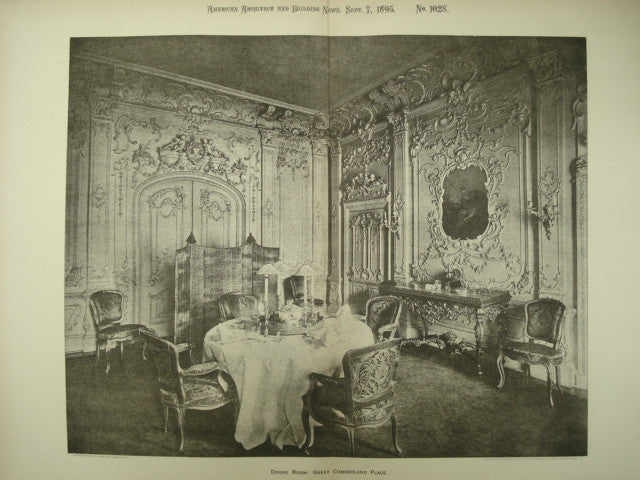 Dining Room at the Great Cumberland Place , London, England, UK, 1895, Unknown
