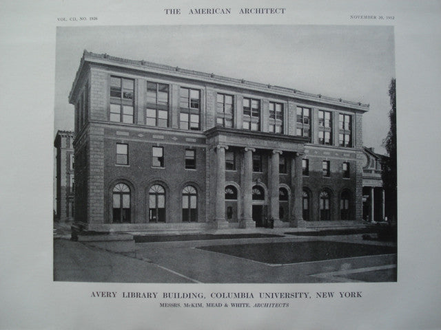Avery Library Building of Columbia University , New York, NY, 1912, Messrs. McKim, Mead & White
