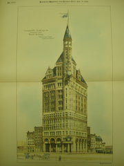 Competitive Drawings of the Proposed New World Building , New York, NY, 1889, R. H. Robertson