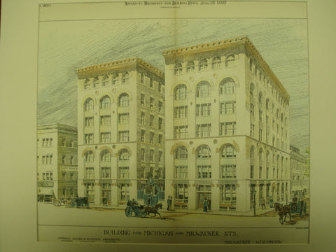 Building on the Corner of Michigan and Milwaukee, Milwaukee, WI, 1892, Andrews, Jaques, & Rantoul