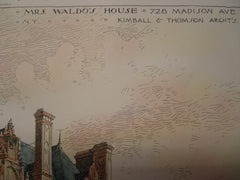 Mrs. Waldo's House on 728 Madison Ave, New York, NY, 1897, Kimball & Thomson
