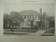 House of C. P. McAlaster, Esq. , Pasadena, CA, 1915, Mr. Reginald D. Johnson