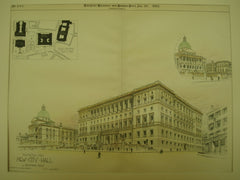 Perspective View of the New City Hall, Boston, MA, 1892, Edmund M. Wheelwright