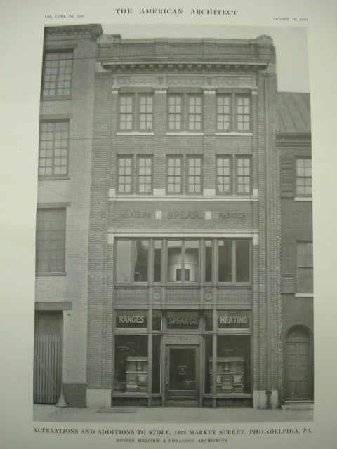 Alterations and Additions to Store, 1823 Market Street , Philadelphia, PA, 1915, Messrs. Heacock & Hokanson