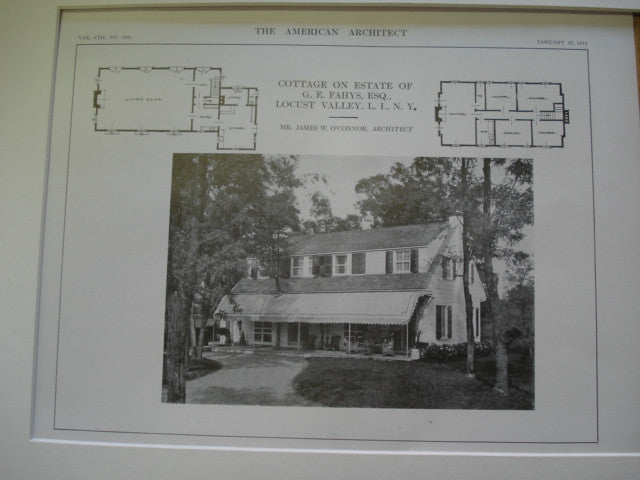 Cottage of Estate of G. E. Fahys, Esq., Locust Valley, Long Island, NY, 1913, Mr. James W. O'Connor
