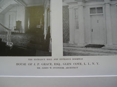 Entrance Hall and Entrance Doorway House of J. P. Grace, Esq., Glen Cove, Long Island, NY, 1913, Mr. James W. O'Connor