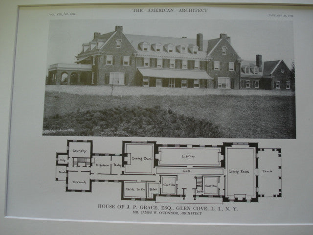 Exterior of the House of J. P. Grace, Esq., Glen Cove, Long Island, NY, 1913, Mr. James W. O'Connor