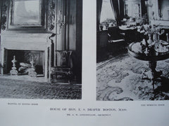 Mantel in the Dining Room and the Morning Room in the House of Hon. E.S. Draper , Boston, MA, 1912, Mr. A.W. Longfellow