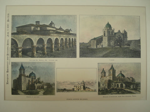 Spanish Mission Buildings , San Jose and San Antonio, TX, 1897, Unknown