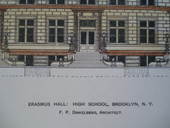 Erasmus Hall: High School , Brooklyn, NY, 1898, F.P. Dinkelberg
