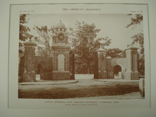 Back of the Dudley Memorial Gate at Harvard University , Cambridge, MA, 1915, Messrs. Howells & Stokes