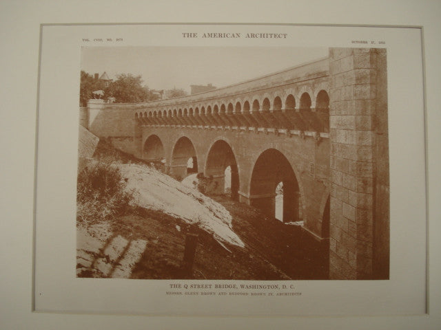 Q Street Bridge , Washington, DC, 1915, Messrs. Glenn Brown and Bedford Brown IV