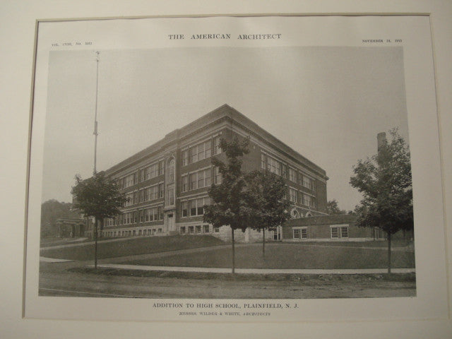 Additions to the High School, Plainfield, NJ, 1915, Wilder and White