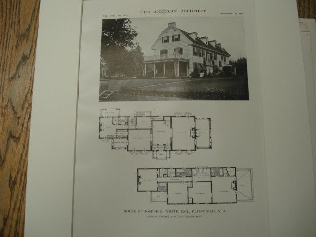 House of Joseph B. White, Plainfield, NJ, 1915, Wilder and White