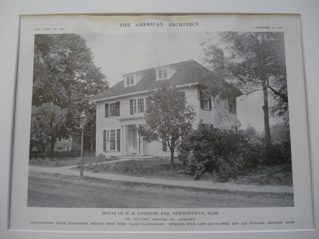House of W. H. Lothrup, Newtonville, MA, 1915, Benjamin Proctor