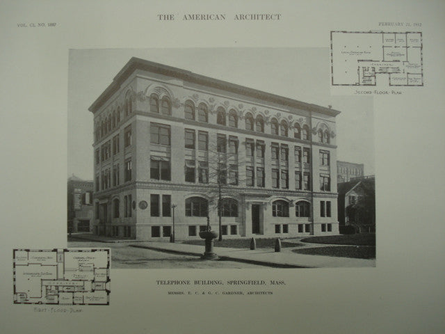Telephone Building , Springfield, MA, 1912, Messrs. E. C. & G. C. Gardner