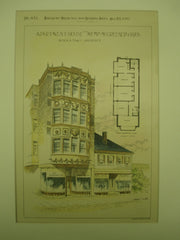 Apartment House for Messrs. McGreenery Bros., Boston, MA, 1893, Patrick A. Tracy