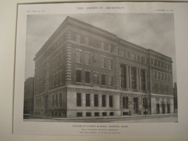 Franklin Union School, Boston, MA, 1915, R. Clipston Sturgis