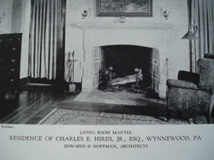 Living Room Mantel in the Residence of Charles E. Hires, Jr., Esq. , Wynnewood, PA, 1928, Edwards & Hoffman