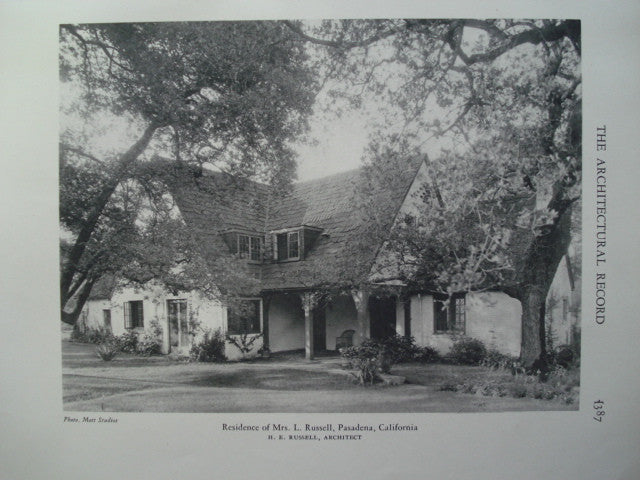 Residence of Mrs. L. Russell , Pasadena, CA, 1928, H.E. Russell