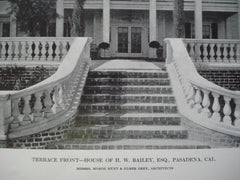 Terrace Front on the House of H.W. Bailey, Esq. , Pasedena, CA, 1912, Messrs. Myron Hunt & Elmer Grey