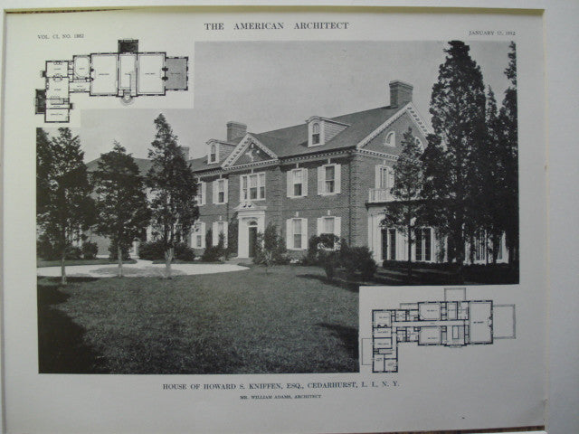 House of Howard S. Kniffen, Esq., Cedarhurst, Long Island, NY, 1912, Mr. William Adams