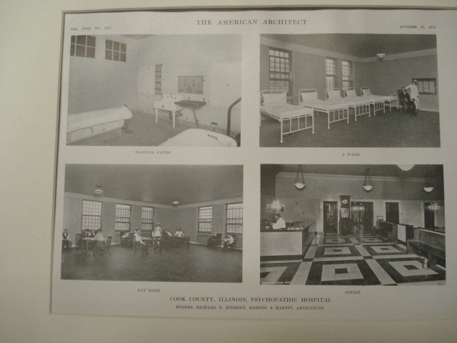 Interior, Cook County Psychopathic Hospital, Chicago, IL, 1915, Schmidt, Garden and Martin
