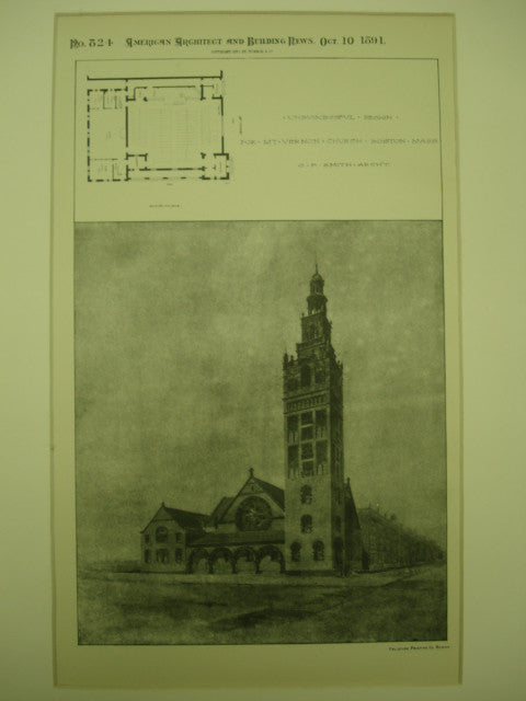 Unsuccessful Design for Mt. Vernon Church , Boston, MA, 1891, O. F. Smith