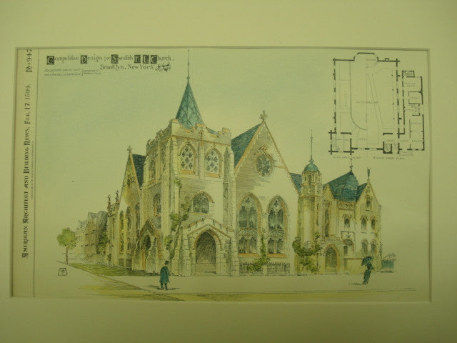 Competitive Design for Swedish E. L. Church, Brooklyn, NY, 1894, J. G. Glover