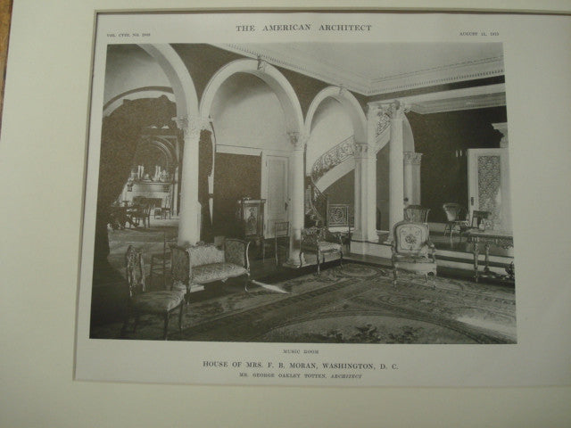 Interior, F. B. Moran House, Washington, DC, 1915, George Oakley Totten