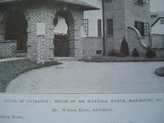 Details of the Entrance to the House of Mr. Maxwell Wyeth , Rosemount, PA, 1908, Mr. Wilson Eyre