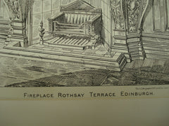 Fireplace at Rothsay Terrace , Edinburgh, Scotland, UK, 1884, Sidney Mitchell