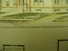 Leicester Public Library , Leicester, MA, 1896, Earle & Fisher