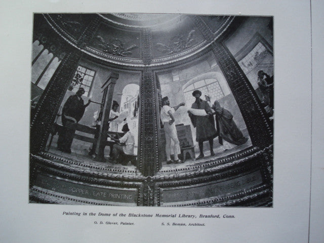 Painting in the Dome of the Blackstone Memorial Library , Branford, CT, 1904, S.S. Beman and O.D. Glover, Painter