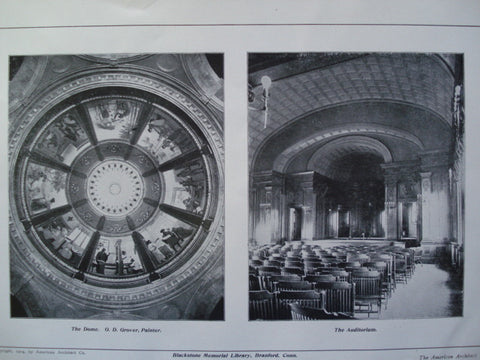 Dome and Auditorium of the Blackstone Memorial Library , Branford, CT, 1904, S.S. Beman and O.D. Glover, Painter
