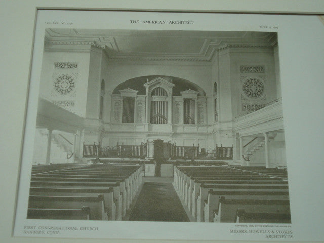 Interior First Congregational Church, Danbury, CT, 1909, Howell and Stokes