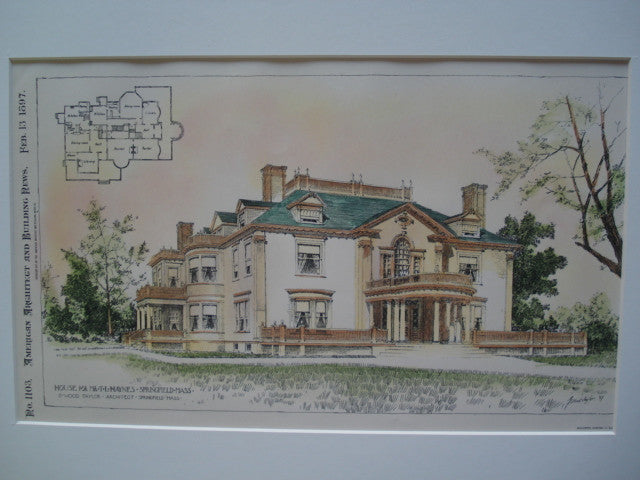 House for Mr. T.L. Haynes , Springfield, MA, 1897, G. Wood Taylor