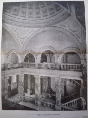 Upper Part of Staircase Hall in the Public Library , Milwaukee, WI, 1901, Ferry & Clas
