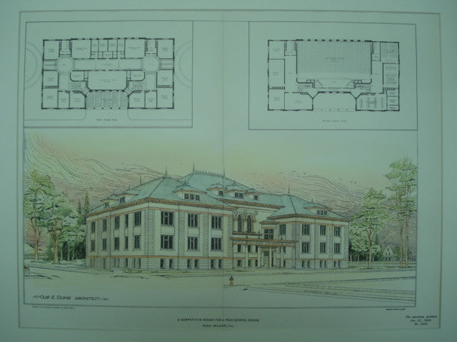 Competitive Design for a High School House, Rock Island, IL, 1902, Olof Z. Cervin