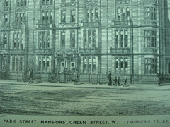 Park Street Mansions on Green Street , London, England, UK, 1882, J. T. Wimperis