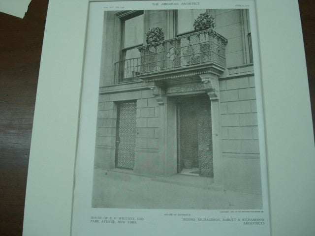 Entrance of the House of E. F. Whitney, Esq., New York, NY, 1909, Messrs. Richardson, Barott & Richardson