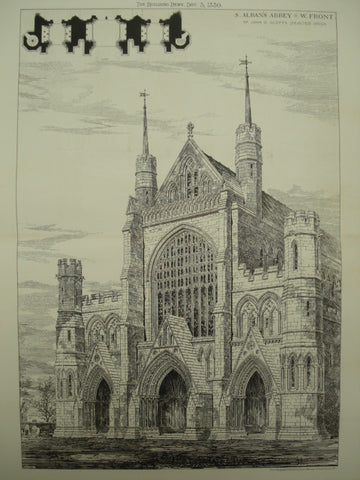 Rejected Design for St. Alban's Abbey, St. Alban's, England, UK, 1880, John O. Scott