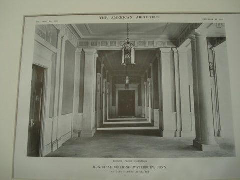 Corridor, Municipal Building, Waterbury, CT, 1915, Cass Gilbert